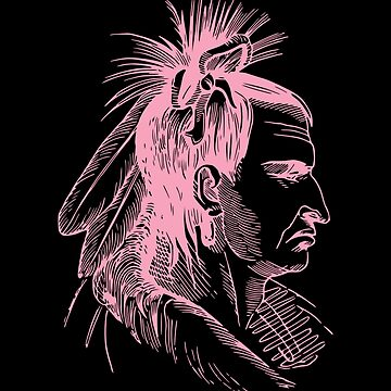 Pink Indian Soldier Tribal Art Tribe Floral Paleo Cave Tattoo Design by DogBoo