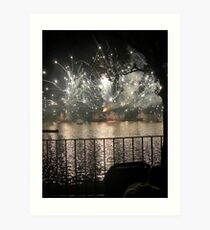 Fireworks - Reflections on the Lake Art Print
