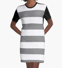 Large Battleship Gray and White Horizontal Cabana Tent Stripes Graphic T-Shirt Dress