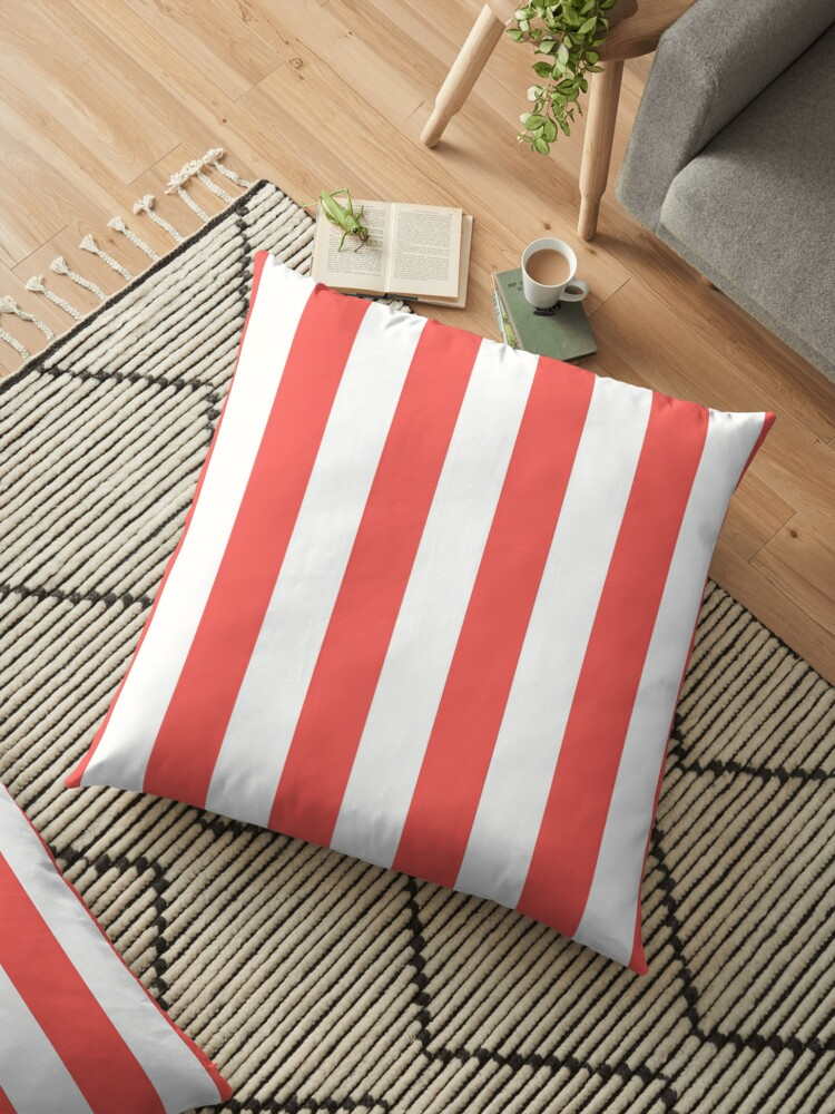 Large Bean Red and White Vertical Cabana Tent Stripes by honorandobey