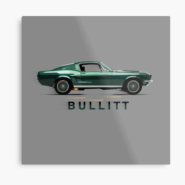 The Mythical Ford Mustang GT 390 Bullitt Car by MotorManiac Metal Print