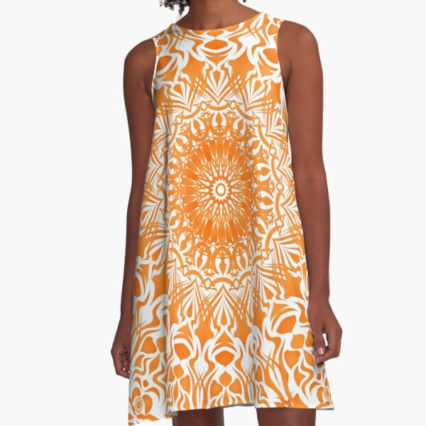 Tribal Mandala orange mit weißem Hintergrund A-Linien Kleid