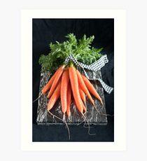 Carrots on Black Art Print