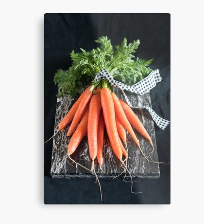 Carrots on Black Metal Print