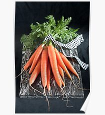 Carrots on Black Poster