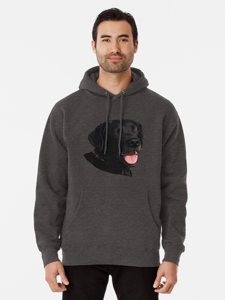 Smile Blue Dog Head Black Hoodie Sweatshirt for Men Casual Fleece Warm Pullover