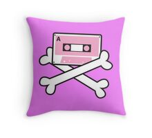 RETRO Cassette tape with pirate crossbones Throw Pillow