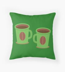 Two green mugs cups with coffee beans Throw Pillow