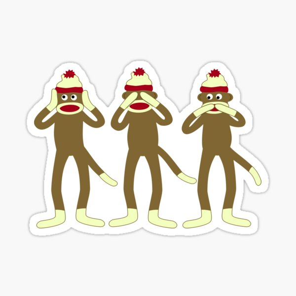 Hear, See, Speak No Evil Sock Monkeys Sticker