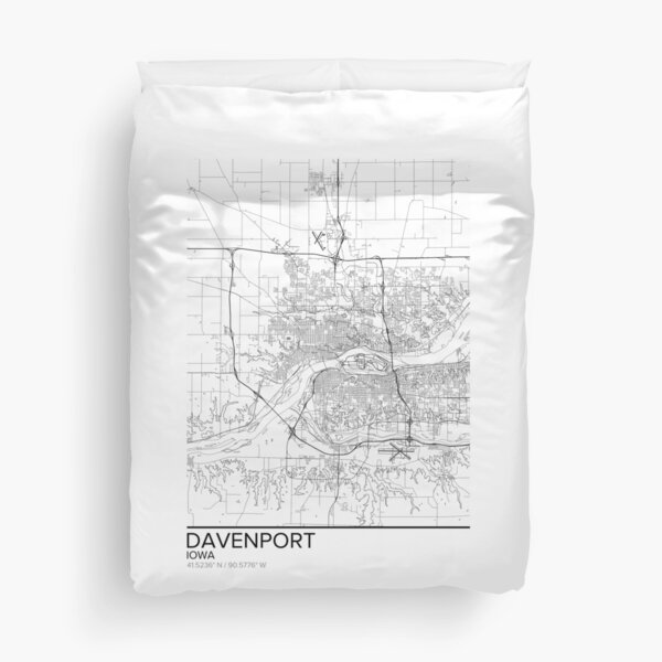 Davenport map poster print wall art, Iowa gift printable, Home and Nursery, Modern map decor for office, Map Art, Map Gifts Duvet Cover