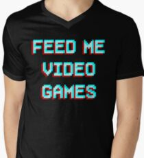 3D effect Feed me video games gaming console pc addict Men's V-Neck T-Shirt