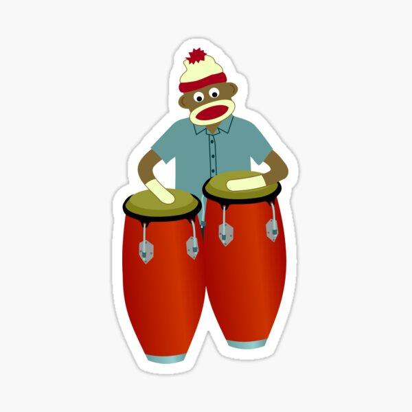 Sock Monkey Congas Sticker