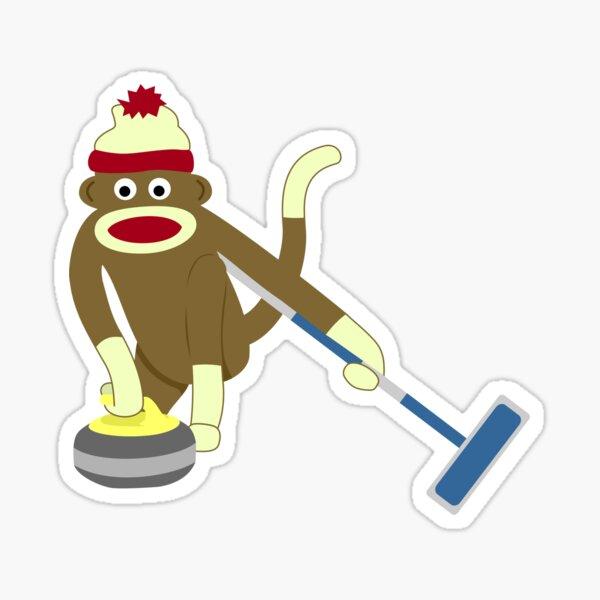 Sock Monkey Curling Sticker