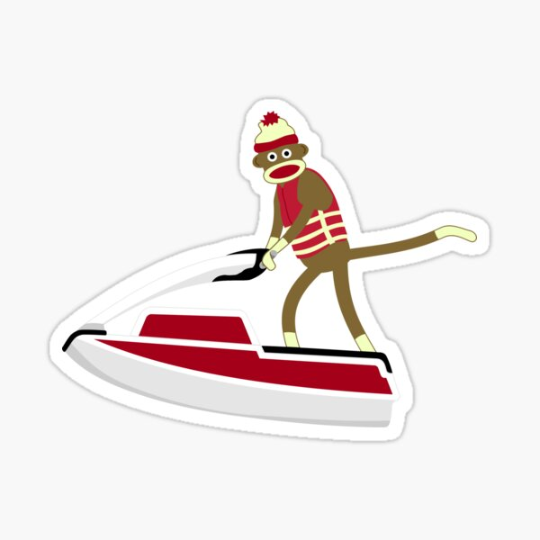 Sock Monkey Jetski Sticker