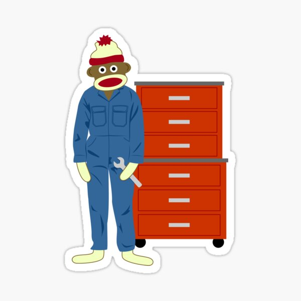 Sock Monkey Mechanic Sticker