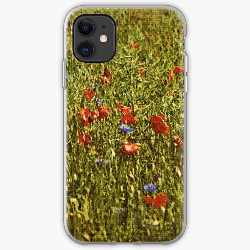 Sommerfeld mit roten und blauen Blumen iPhone-Hülle & Cover