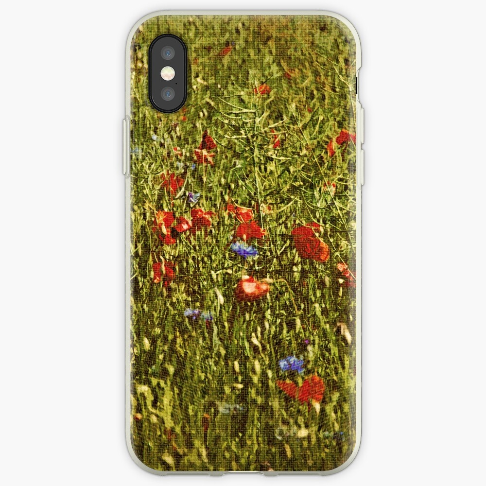 Sommerfeld mit roten und blauen Blumen iPhone-Hüllen & Cover