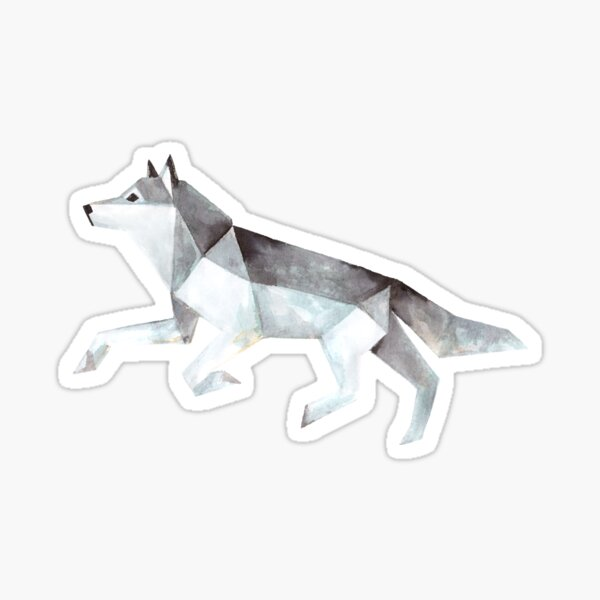 Low Poly Watercolor - Wolf Sticker