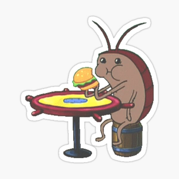 Spongebob Cockroach Eating A Krabby Patty Sticker