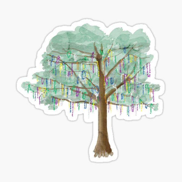 Mardi Gras Tree - watercolor Sticker