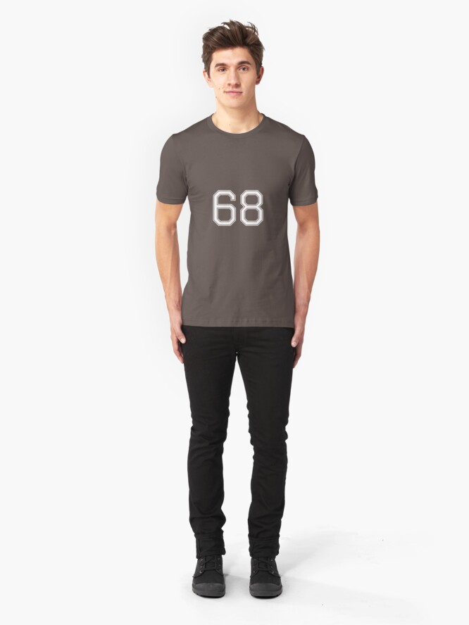 Alternative Ansicht von Nummer 68 American Football Spielernummer Sport Design Slim Fit T-Shirt