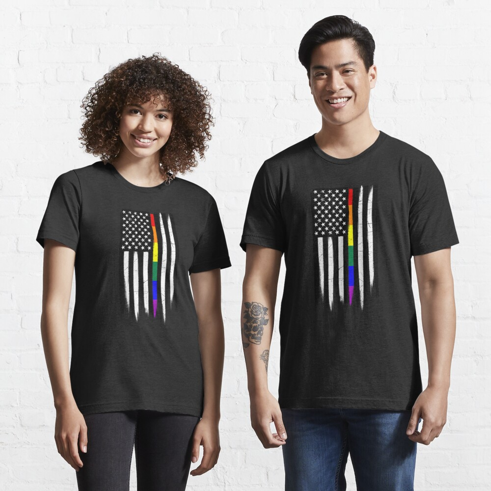 LGBTQ Thin Line Amercian Flag Essential T-Shirt