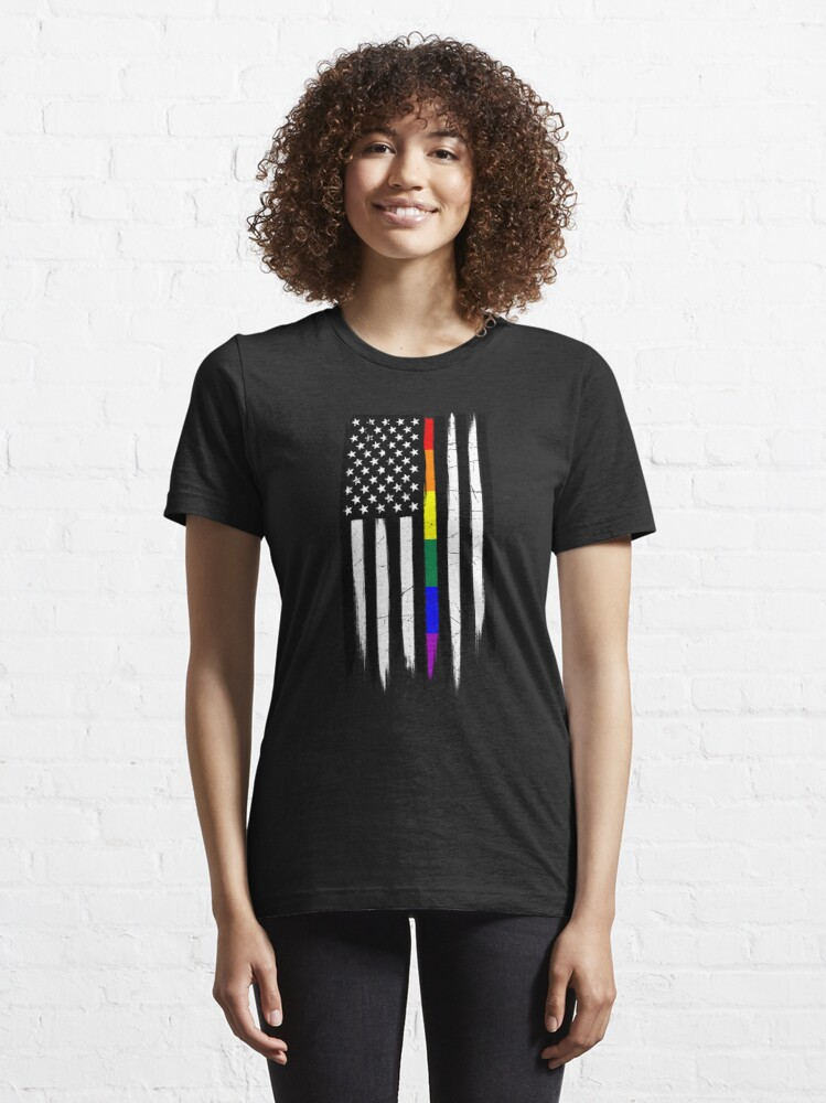 Alternate view of LGBTQ Thin Line Amercian Flag Essential T-Shirt