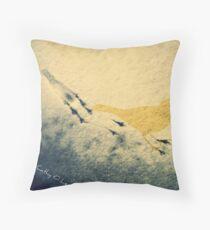 Bird tracks in snow Throw Pillow