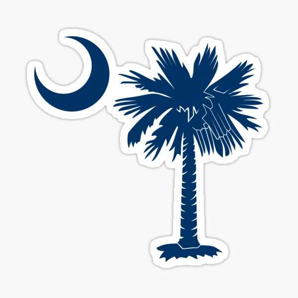 Blue Palmetto Moon Sticker