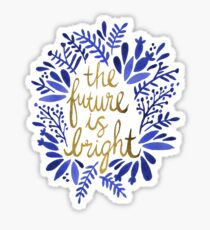 Pegatina El futuro es brillante: azul marino y dorado