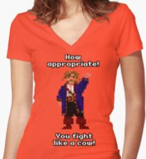 You fight like a cow! Women's Fitted V-Neck T-Shirt
