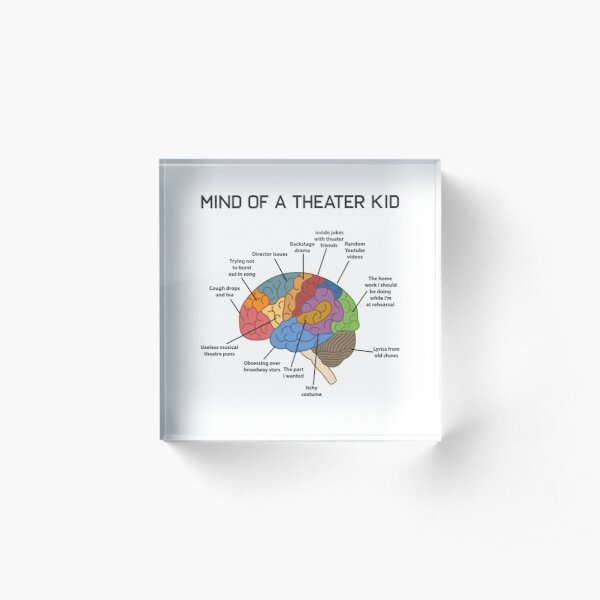 Mind of A Theater Kid Funny Musical Broadway Theater Nerd Actor Actress Drama Tee Gift Acrylic Block