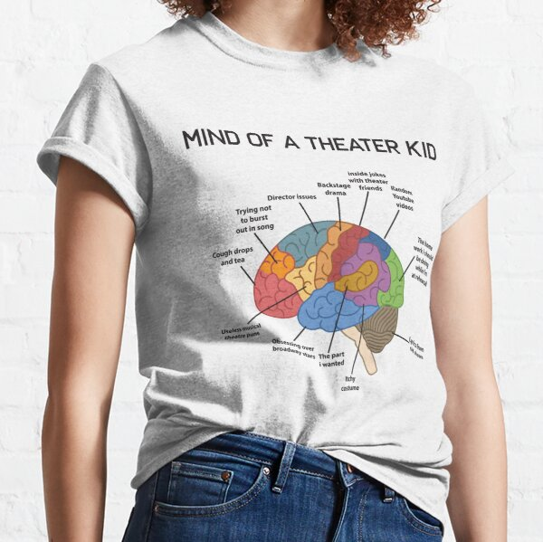 Mind of A Theatre Kid Funny Musical Broadway Theatre Nerd Actor Actriz Drama Tee Regalo Camiseta clásica
