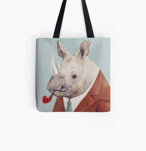 Rhinoceros All Over Print Tote Bag