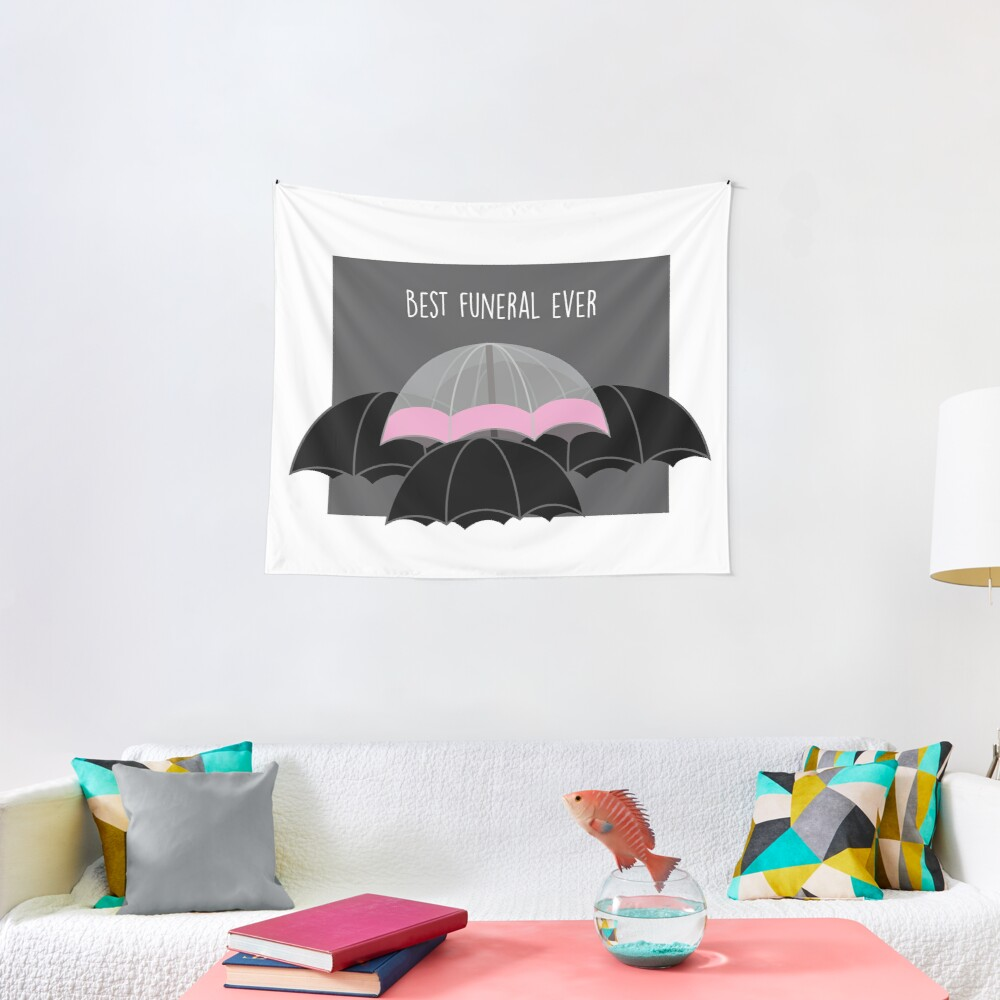 Pink Umbrella- With Text Tapestry