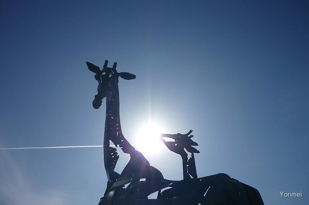 Giraffe struck by light by Yonmei