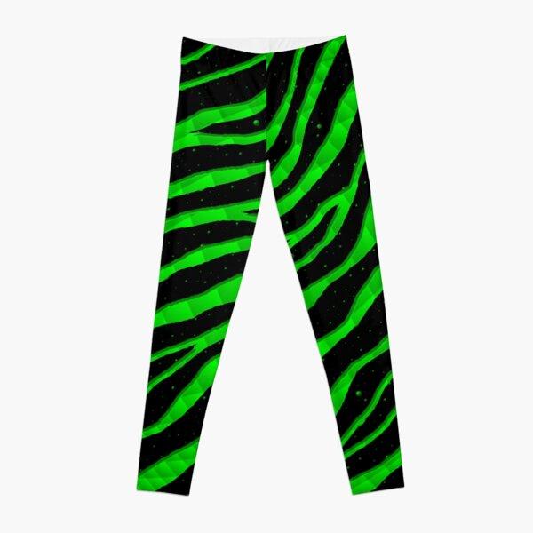 Ripped SpaceTime Stripes - Green Leggings