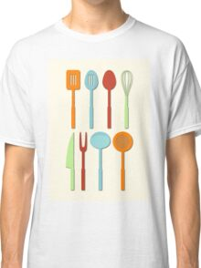 Kitchen Utensil Colored Silhouettes on Cream Classic T-Shirt