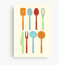 Kitchen Utensil Colored Silhouettes on Cream Canvas Print