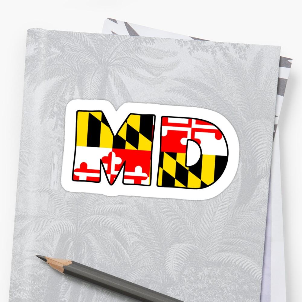 Maryland Flag Abbreviation Sticker