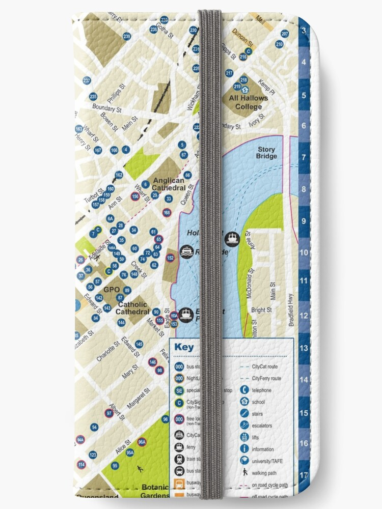 \'Brisbane - Australia - CBD Bus Stop Map - HD\' iPhone Wallet by superfunky