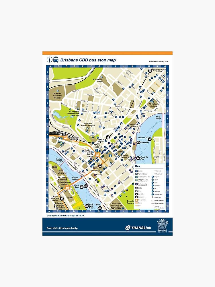 Brisbane - Australia - CBD Bus Stop Map - HD | Photographic Print