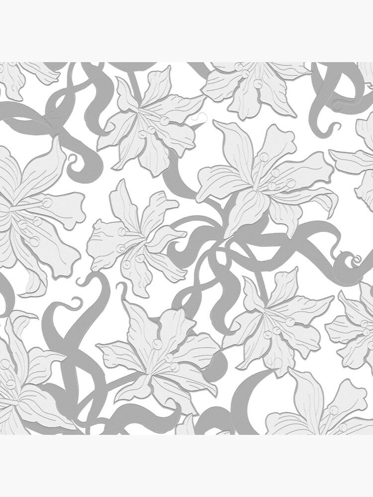 Metallic, Floral, Silver, Flowers, Design, Print, Vintage de croppedcharcoal