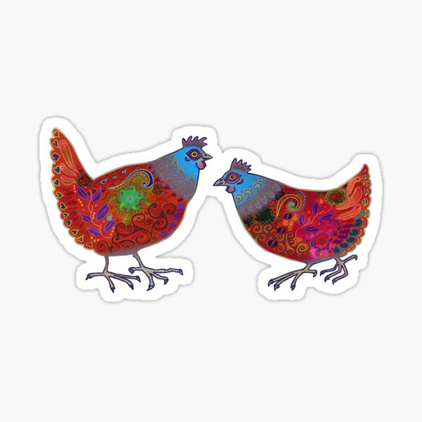 Chickens - red & blue Sticker