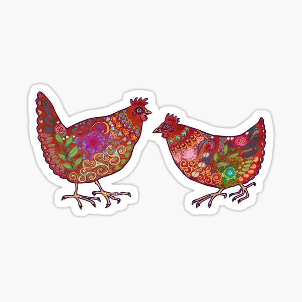 Red Chickens Sticker