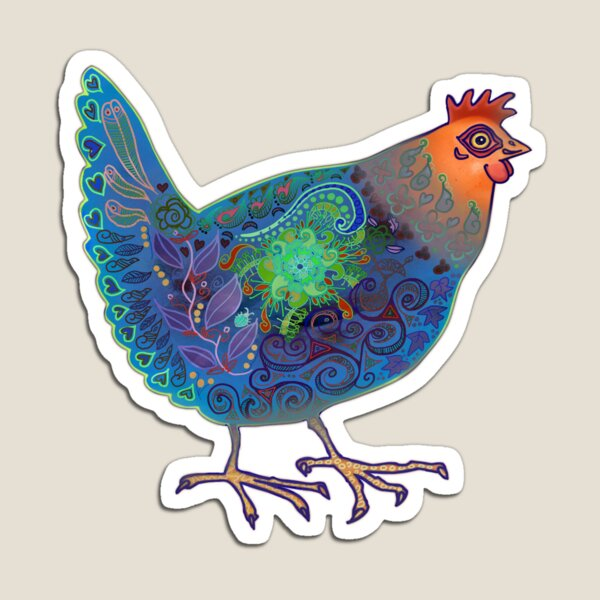 Blue Chicken Magnet