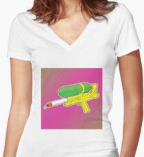Super Soaker Water Gun 90s 80s Toy Squirt Pistol Drawing Fitted V-Neck T-Shirt