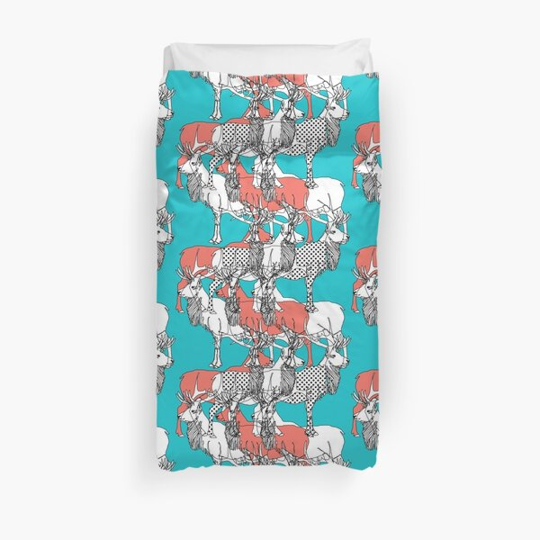elk in polka dots and coral Duvet Cover