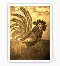ROOSTER IN THE GRASS Sticker