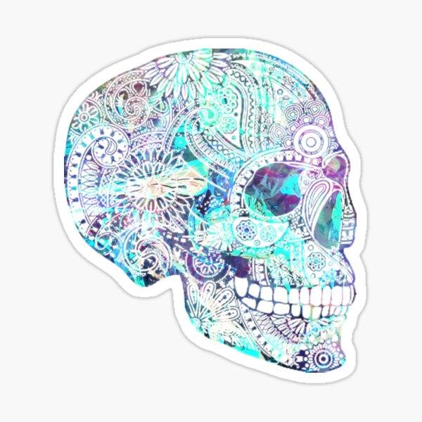 Blue Reflective Skull Sticker